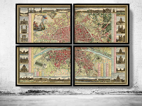 Old,map,of,Paris,1784,-,4,PIECES,paris old map, old map of paris, paris retro, paris city plan, paris wall decor, wall map, old maps of paris