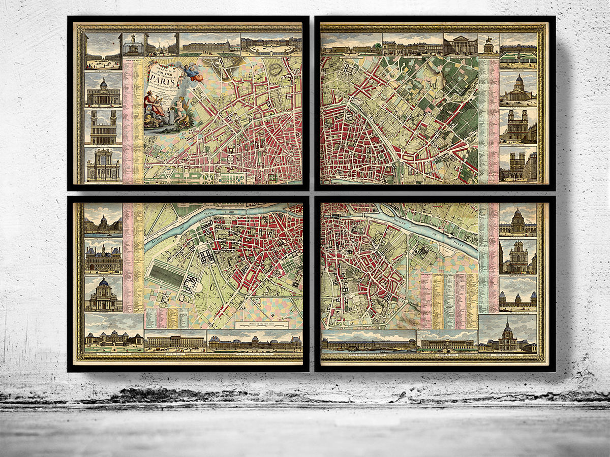 Old map of Paris 1784 - 4 PIECES - product images  of