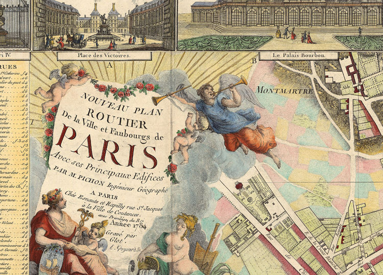 Old map of Paris 1784 - 4 PIECES - product image