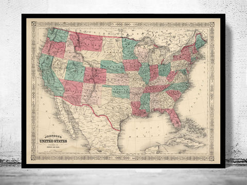 Vintage,Map,of,United,States,America,1864,united states map, united states poster, united states of america, USA map, map of US, map of United states