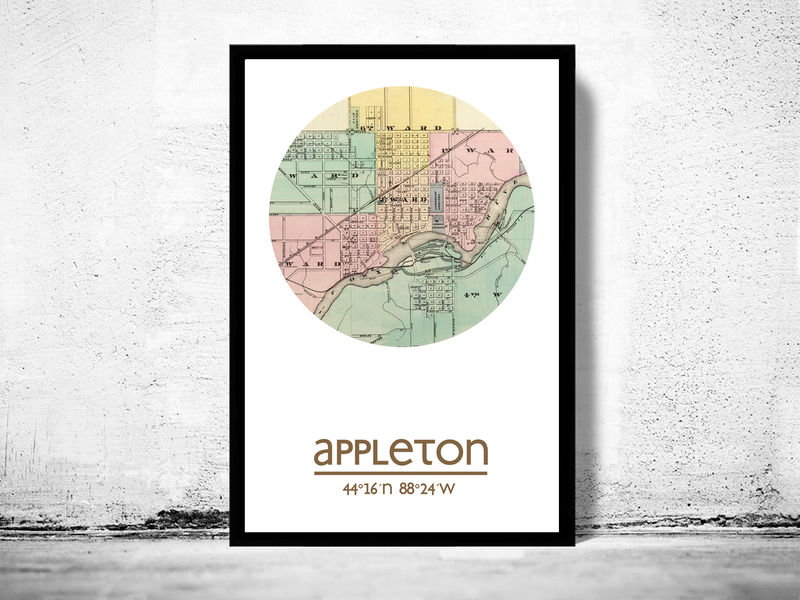 APPLETON WISCONSIN - city poster - city map poster print - product image