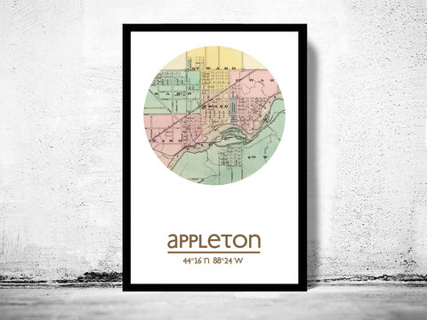 APPLETON,WISCONSIN,-,city,poster,map,print, APPLETON WISCONSIN  print, APPLETON WISCONSIN poster, APPLETON  Poster, american art, APPLETON WISCONSIN , APPLETON WISCONSIN map, wall decor, city,maps, travel poster