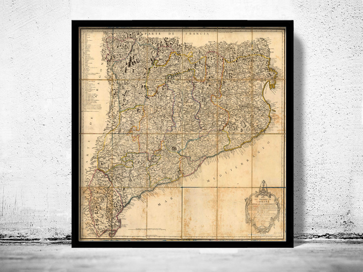 Old Map of Cataluña Catalunya 1916 Old Catalonia map - product images  of