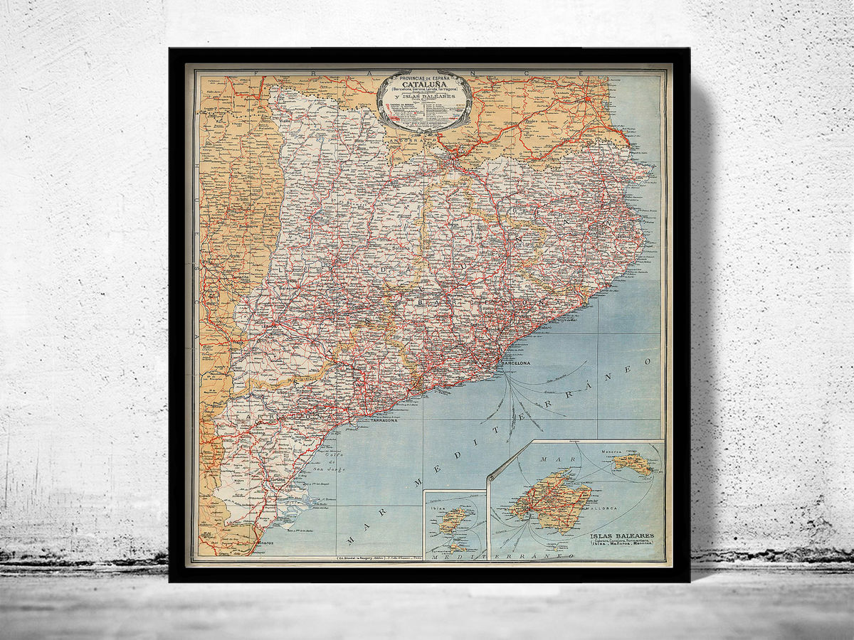 Old Map of Cataluña Catalunya 1925 Old Catalonia map - product images  of