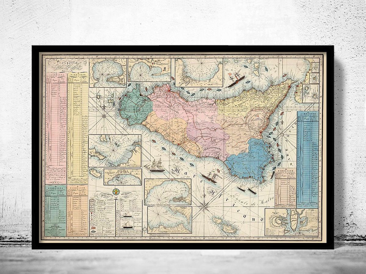 Old Map of Sicily Sicilia, Italy 1847 - product images  of