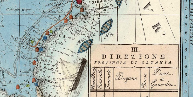 Old Map of Sicily Sicilia, Italy 1847 - product image