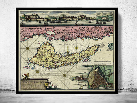 Old,Map,of,Corfu,Island,Greece,1730,corfu, corfu island, island of corfu, corfu greece, map of cordu island, corfu island poster, vintage poster, greece map, greek art, athens poster, antique print, antique map