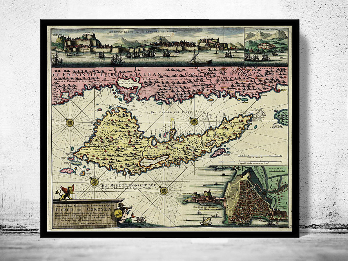 Old Map of Corfu Island Greece 1730 - product images  of