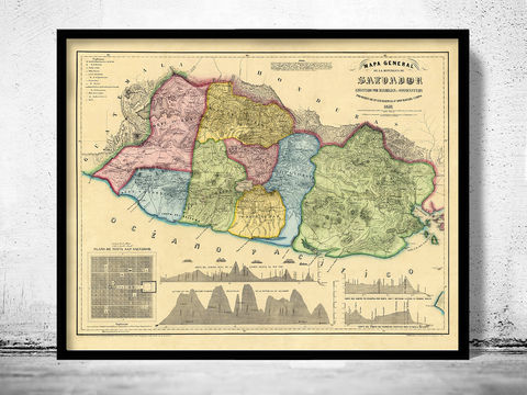 Old,Map,of,El,Salvador,Honduras,1859,el salvador, el salvador map, salvador map, honduras, old map, salvador poster, antique map