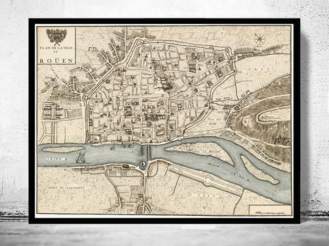Old,Map,of,Rouen,1740,France,Art,Reproduction,Open_Edition,vintage,gravure,vintage_map,city_plan,panoramic_view,old_map,vintage_poster,rouen,rouen_map,map_of_rouen,antique_map