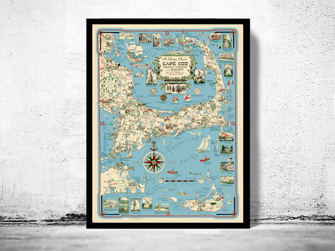Old,Map,of,Cape,Cod,1940,Massachusetts,map of cape cod, cape cod map, vintage cape cod, cape cod poster, old maps for sale, maps reproductions