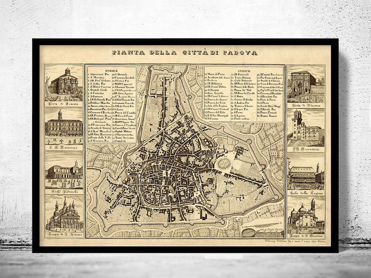 Old Map of Padua Padova Italy 1840 - product images  of