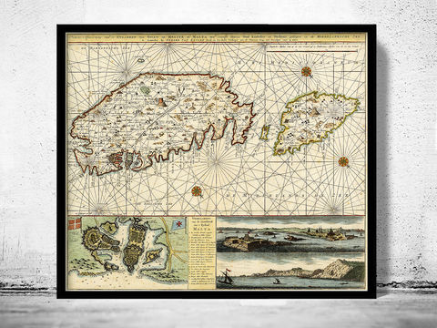 Old,Map,of,Malta,Island,1734,medieval,engraving,malta poster, malta medieval, Art,Reproduction,Open_Edition,vintage,gravure,vintage_map,illustration,city_plan,old_map,vintage_poster,valleta,valeta,malta,island