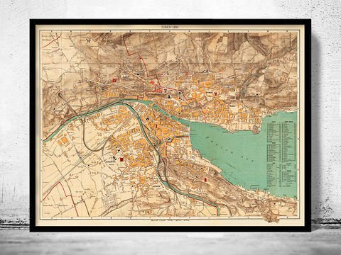 Old,Map,of,Zurich,Switzerland,1890,Vintage,zurich map, map of zurich, zurich, switzerland