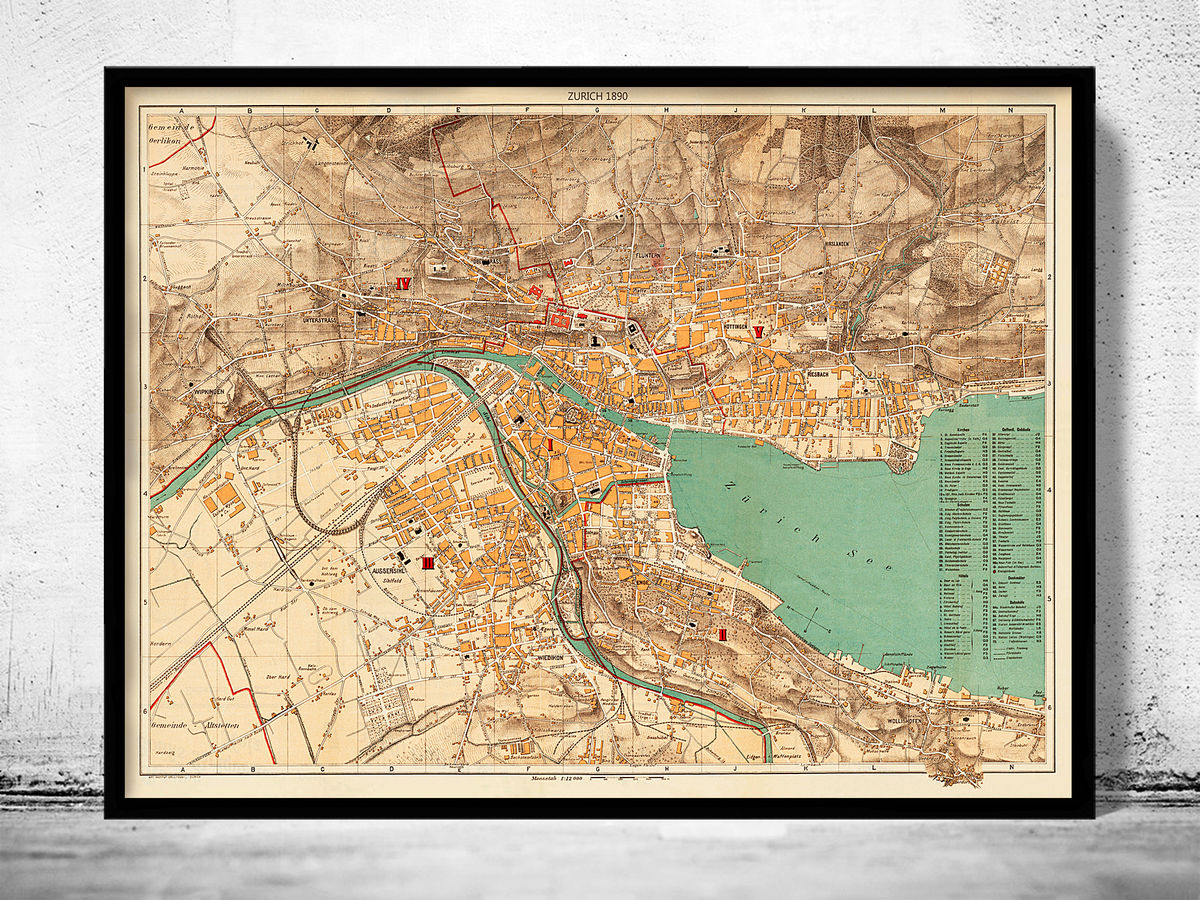 Old Map of Zurich, Switzerland 1890 - product images  of