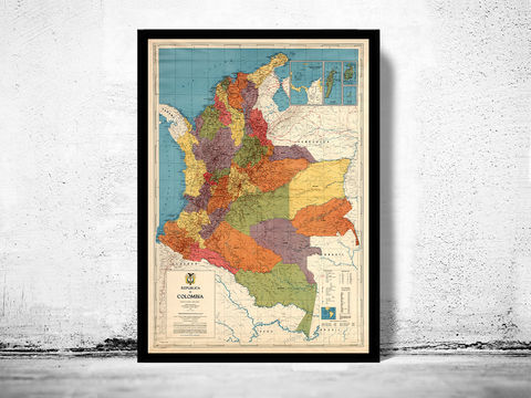 Old,Map,of,Colombia,1972,Vintage,colombia, colobia map, map of colombia, colombia poster, vintage decor, bogota