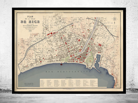 Old,Map,of,Nice,France,1882,Vintage,Art,Reproduction,Open_Edition,vintage,gravure,vintage_map,city_plan,panoramic_view,nice,old_map,vintage_poster,niece,nice_map,map_of_nice,antique_map, nice france