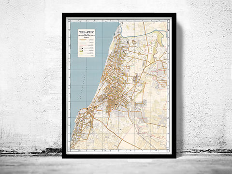 Old,Map,of,Tel,Aviv,Israel,map of tel aviv, old map of tel aviv, tel aviv Israel map