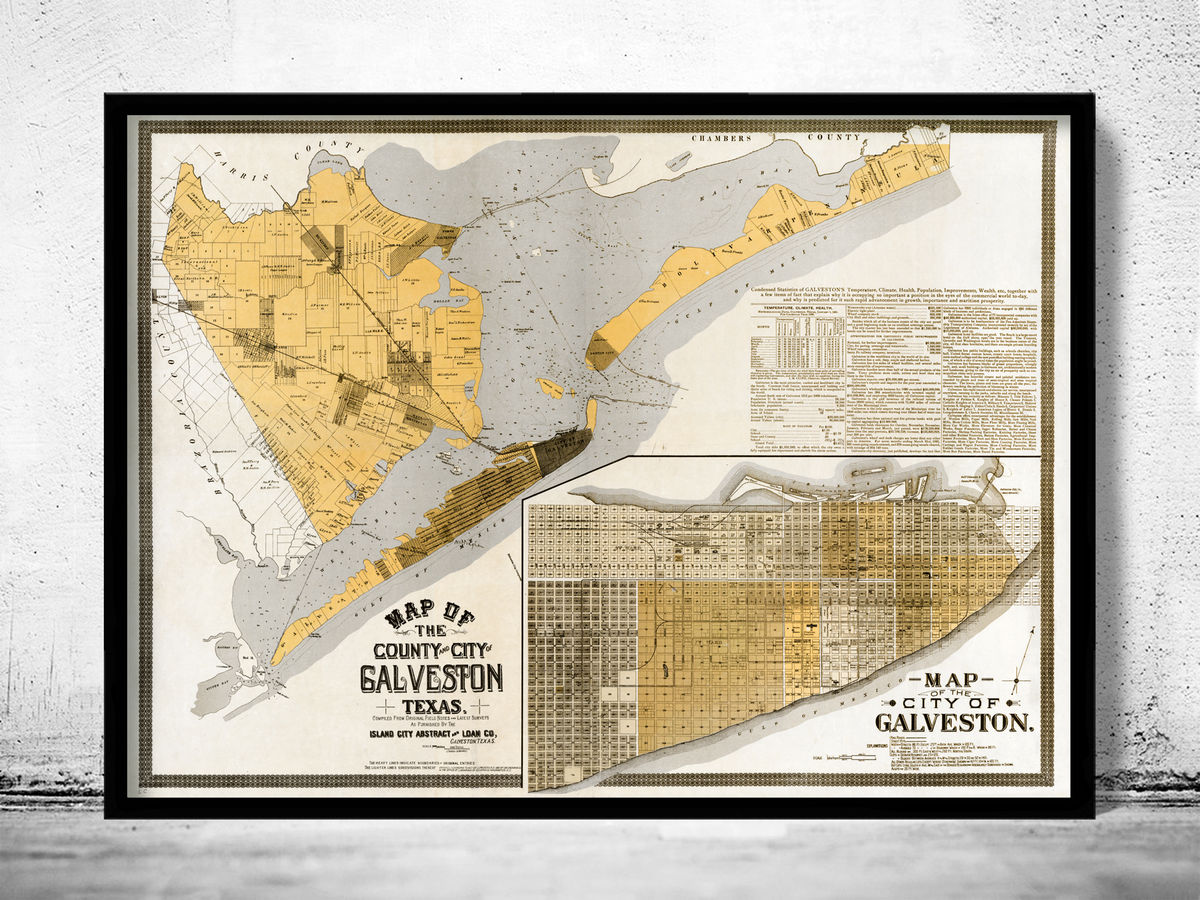 Old map of Galveston Texas 1904 - product images  of
