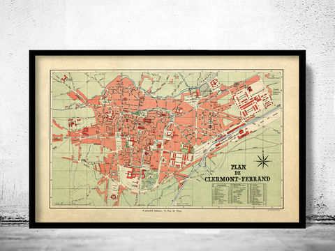 Old,Map,of,Clermont,Ferrand,France,1950,Vintage,clermont ferrand, clermont ferrand map, clermont ferrand poster, clermont ferrand gift, clermont ferrand print