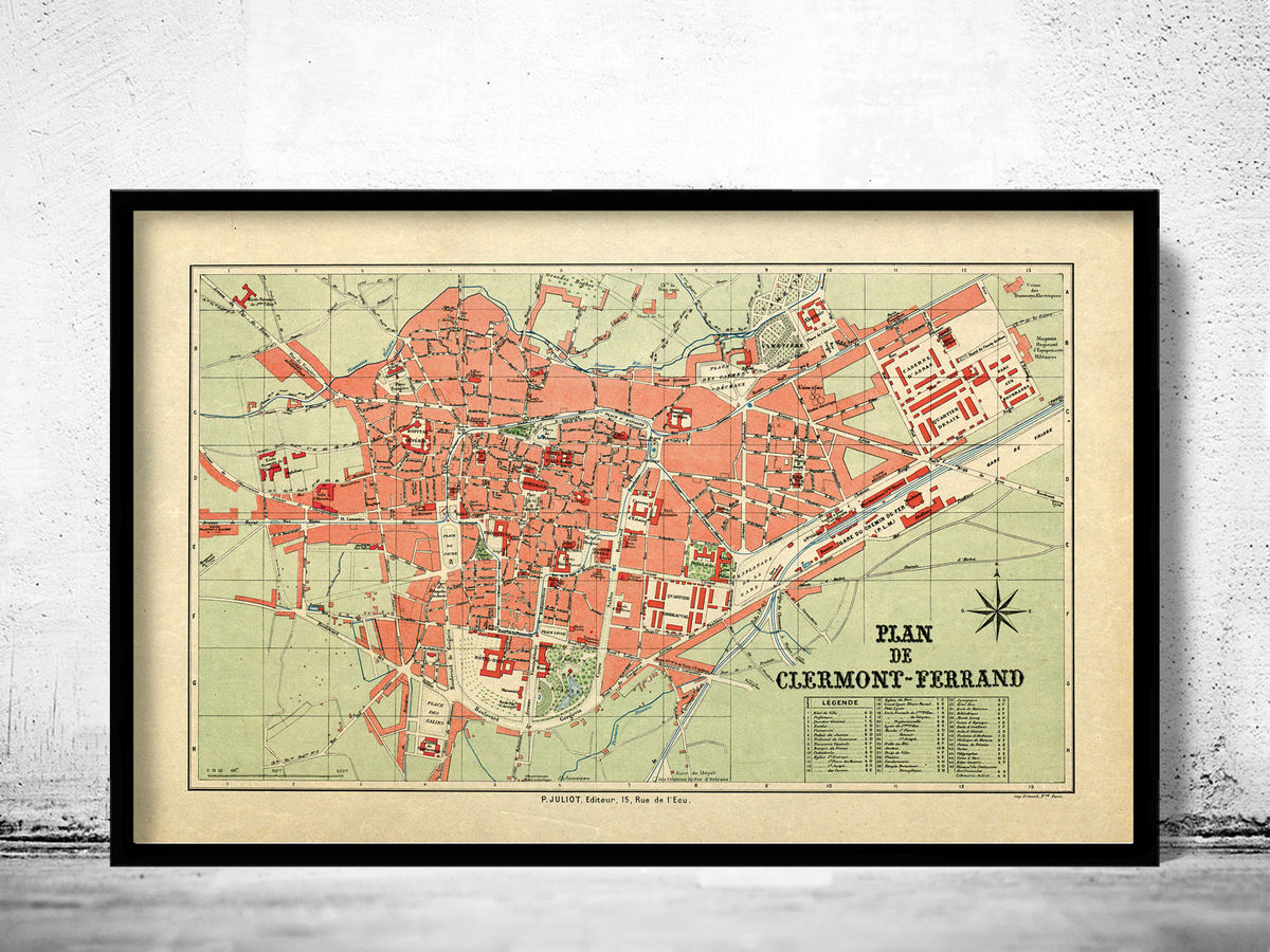 Old Map of Clermont Ferrand France 1950 Vintage Map - product images  of