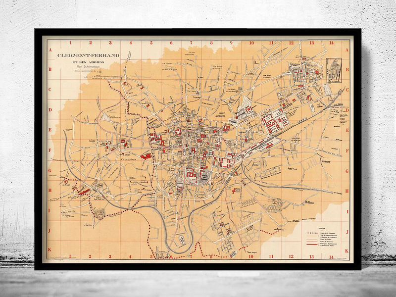 Old Map of Clermont Ferrand France 1933 Vintage Map - product image
