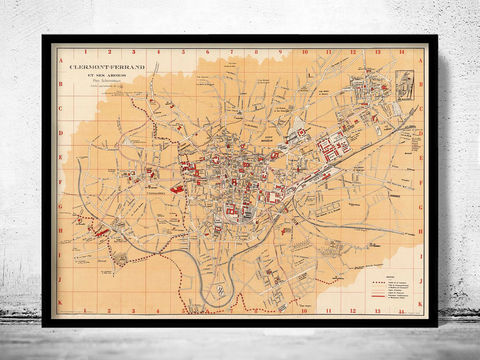 Old,Map,of,Clermont,Ferrand,France,1933,Vintage,clermont ferrand, clermont ferrand map, clermont ferrand poster, clermont ferrand gift, clermont ferrand print