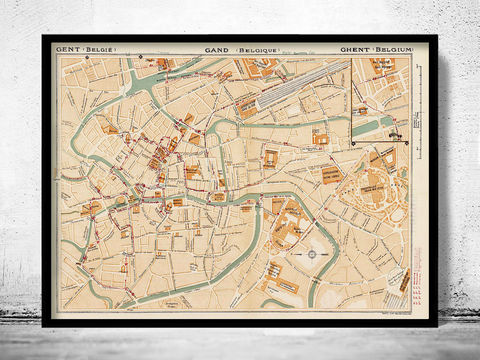 Old,Map,of,Gent,Ghent,Gand,Belgium,1923,ghent, gand, gent belgium, Ghent map, old map of ghent, ghent belgium, ghent map