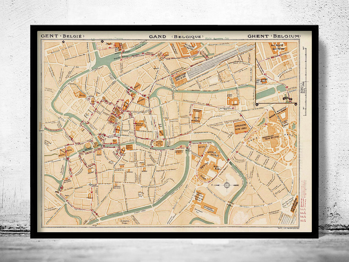 Old Map of Gent Ghent Gand Belgium 1923  - product images  of