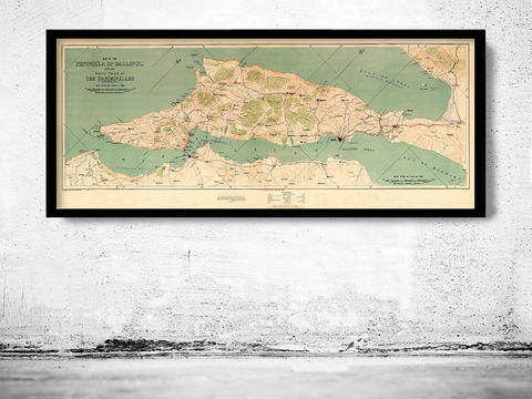 Old,Map,of,Gallipoli,Turkey,1919,gallipoli, gallipoli map, map of gallipoli, gallipoli poster, gallipoli print, gallipoli gift