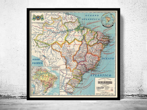 Old,Map,Brasil,1929,Mapa,do,mapa do brasil, mapa antigo do brasil, Art,Reproduction,Open_Edition,vintage,old_map,antique,atlas,illustration,South_America,Venezuela,brazil,brasil_map,map_of_brasil,brasil_poster