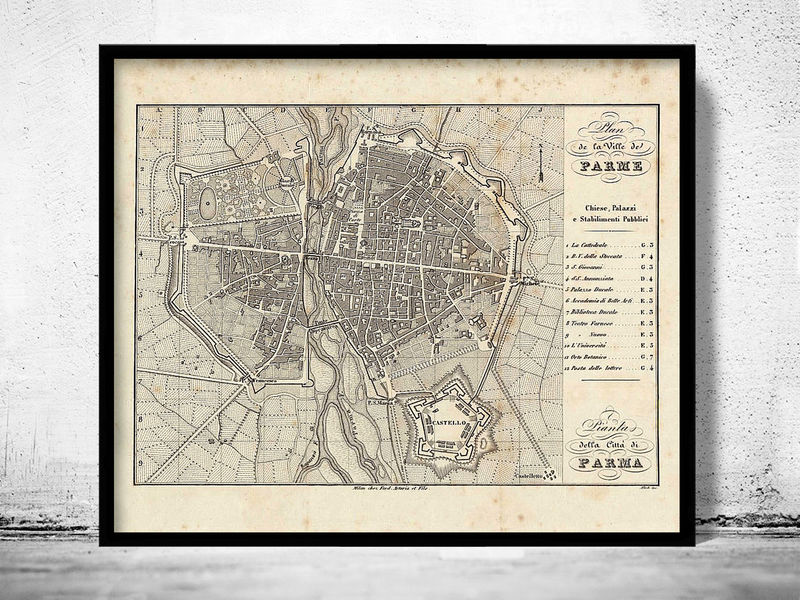 Old Map of Parma Italia 1859 Antique Vintage Italy - product image