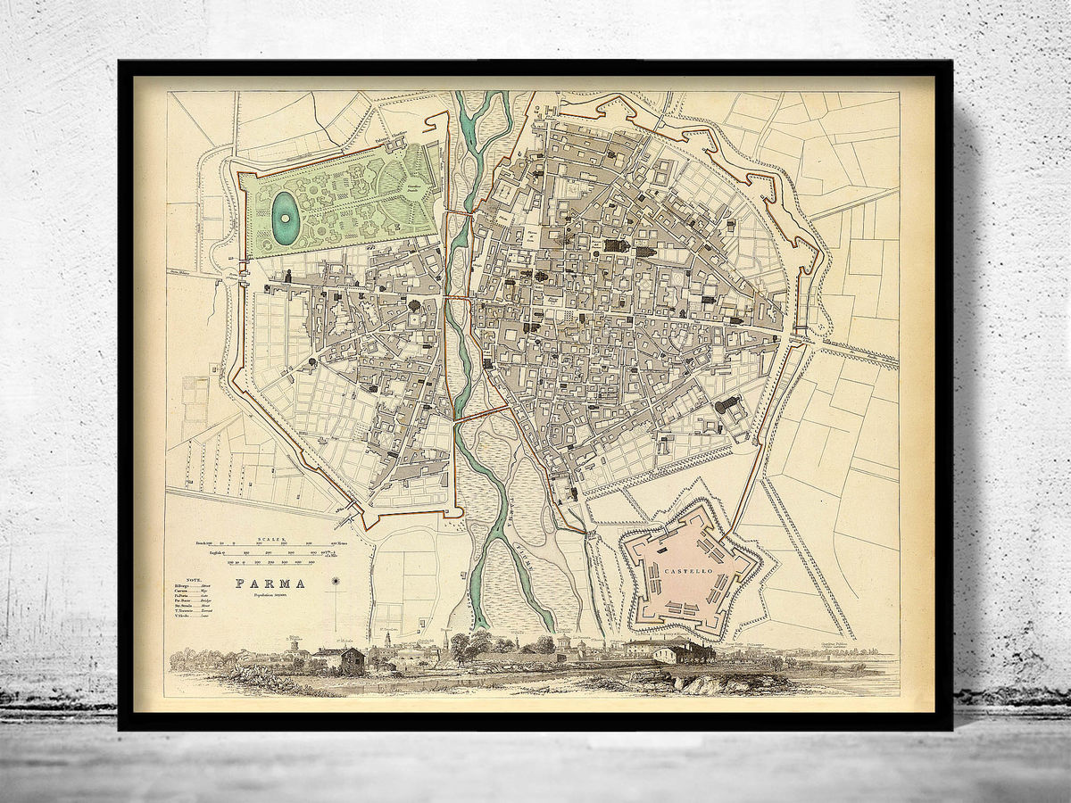Old Map of Parma Italia 1840 Antique Vintage Italy - product images  of