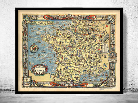 Old,Map,of,France,1936,History,historical map  , vintage map  , vintage poster , map of france , france  , old map france , france poster , france vintage , france country map , paris vintage  , antique france  , french art  , french