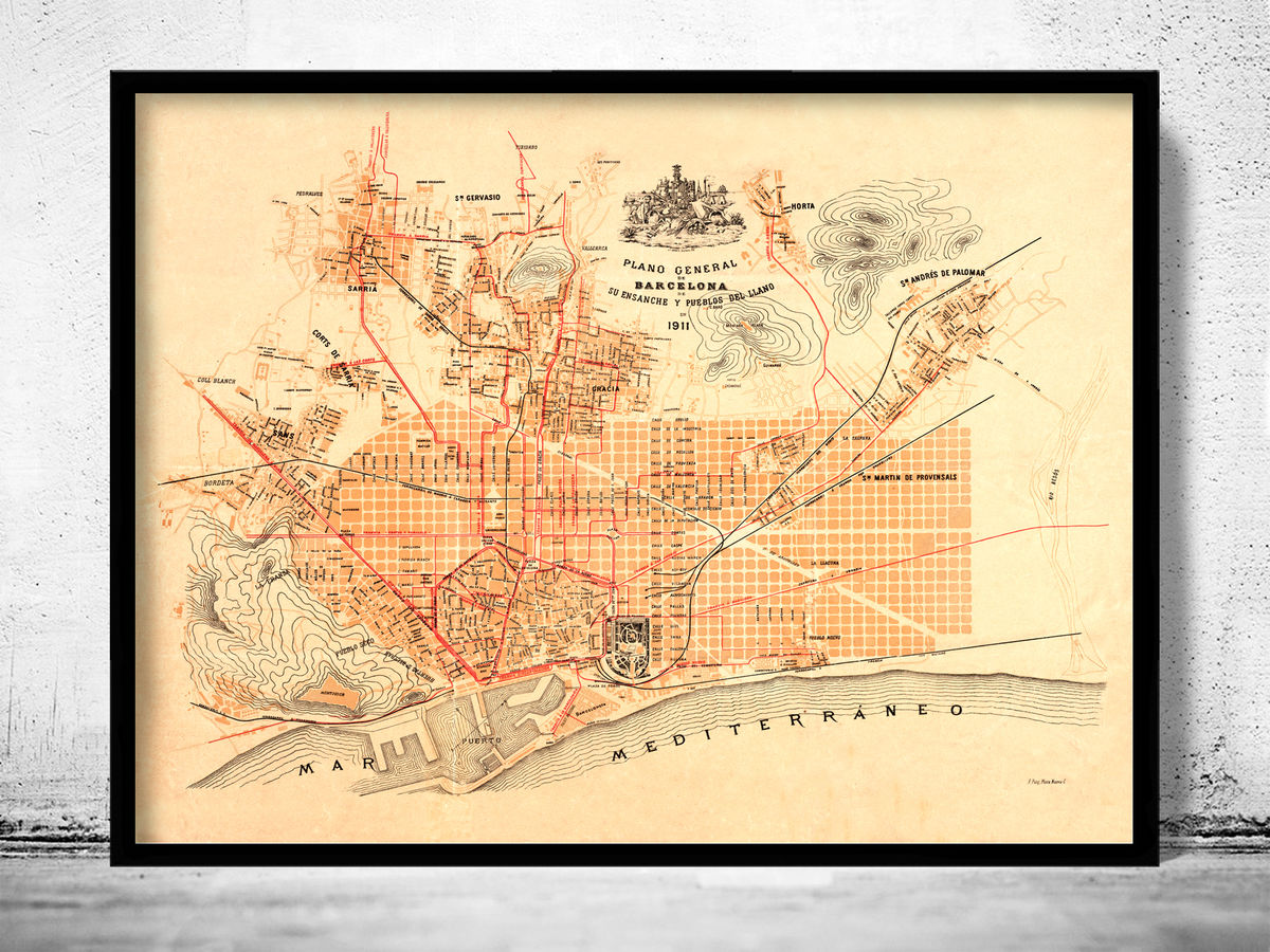 Old Map of Barcelona Spain Cataluna 1911 Vintage map Barcelona - product images  of