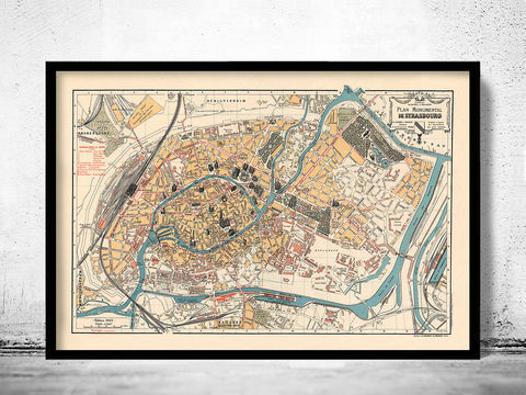 Old,Map,of,Strasbourg,Strassburg,1929,France, strasbourg , strassburg , strasbourg map , strasbourg france , france wall decor , old map , map of strasbourg