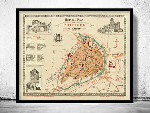 Old,Map,of,Poitiers,1896,France,poitiers map, poitiers france map, poitiers poster, poitiers gift, old map of poitiers
