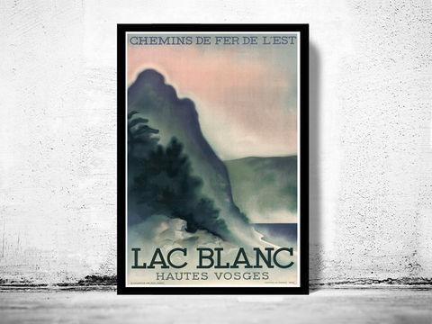 Vintage,Poster,of,Lac,Blanc,France,1930,Tourism,poster,travel,lac blanc france, lac blanc poster, lac blanc decor
