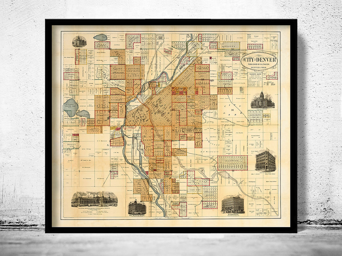 Old Map of Denver Colorado United States 1880 - product images  of