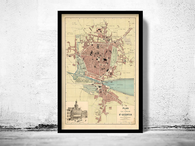 Old Map of Saint Quentin France 1871 - product image