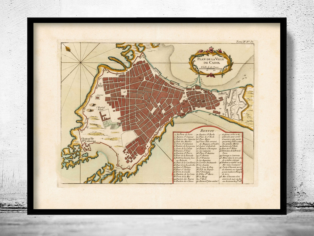 Old Map of Cadiz Spain 1700 - product images  of