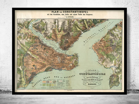 Old,Map,of,Istanbul,Constantinople,Turkey,1882,constantinople, istanbul, istanbul map, istanbul poster, map of istanbul, map of constantinople, turkey, turkey poster, old map