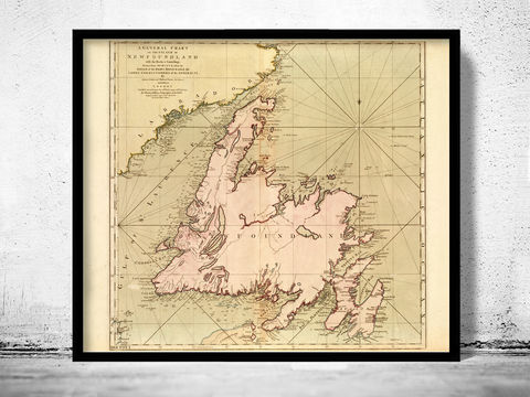 Old,Map,of,Newfoundland,Canada,1755,Art,Reproduction,Open_Edition,old_map,canada,antique_map,vintage_map,map of newfoundland,newfoundland,canadian,north_america,old_map_of_newfoundland,canada_map,newfoundland poster