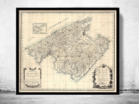 Old,Map,of,Mallorca,Maiorca,Spain,1814,Vintage,old maps online, old maps for sale, Vintage map  , vintage poster  , old map  , mallorca, maiorca, island, spain, maiorca island, mallorca island