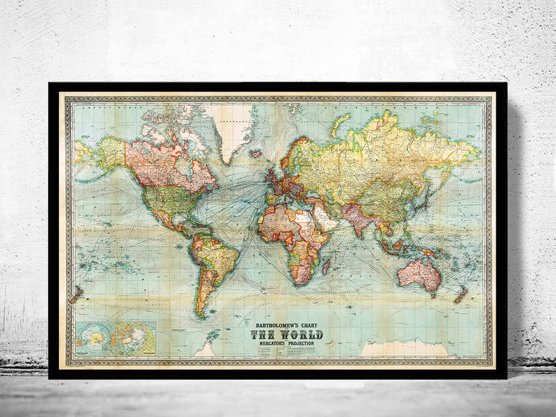 Old World Map Vintage Atlas 1914 Mercator projection - product image