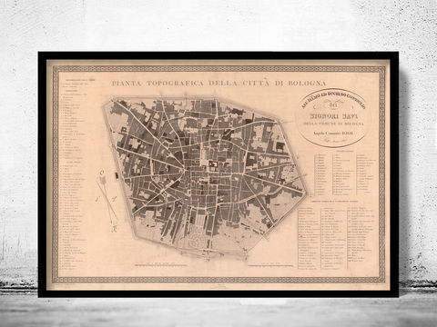 Old,Map,of,Bologna,Italy,1822,Art,Reproduction,Open_Edition,city_map,retro,antique,Europe,italy,italia,bologna italy, bologna map, bologna print, mapa di bologna, bologna poster
