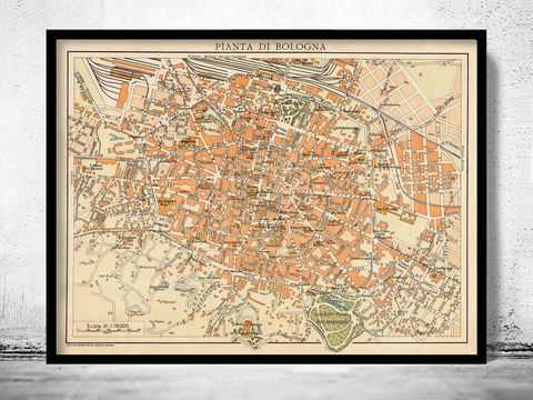 Old,Map,of,Bologna,Italy,1930,Art,Reproduction,Open_Edition,city_map,retro,antique,Europe,italy,italia,bologna italy, bologna map, bologna print, mapa di bologna, bologna poster