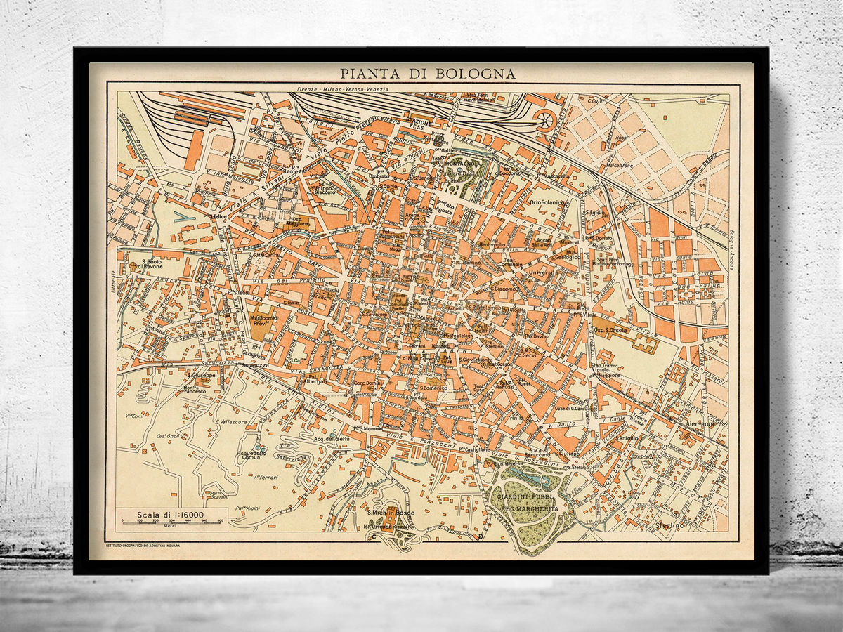 Old Map of Bologna Italy 1930  - product images  of