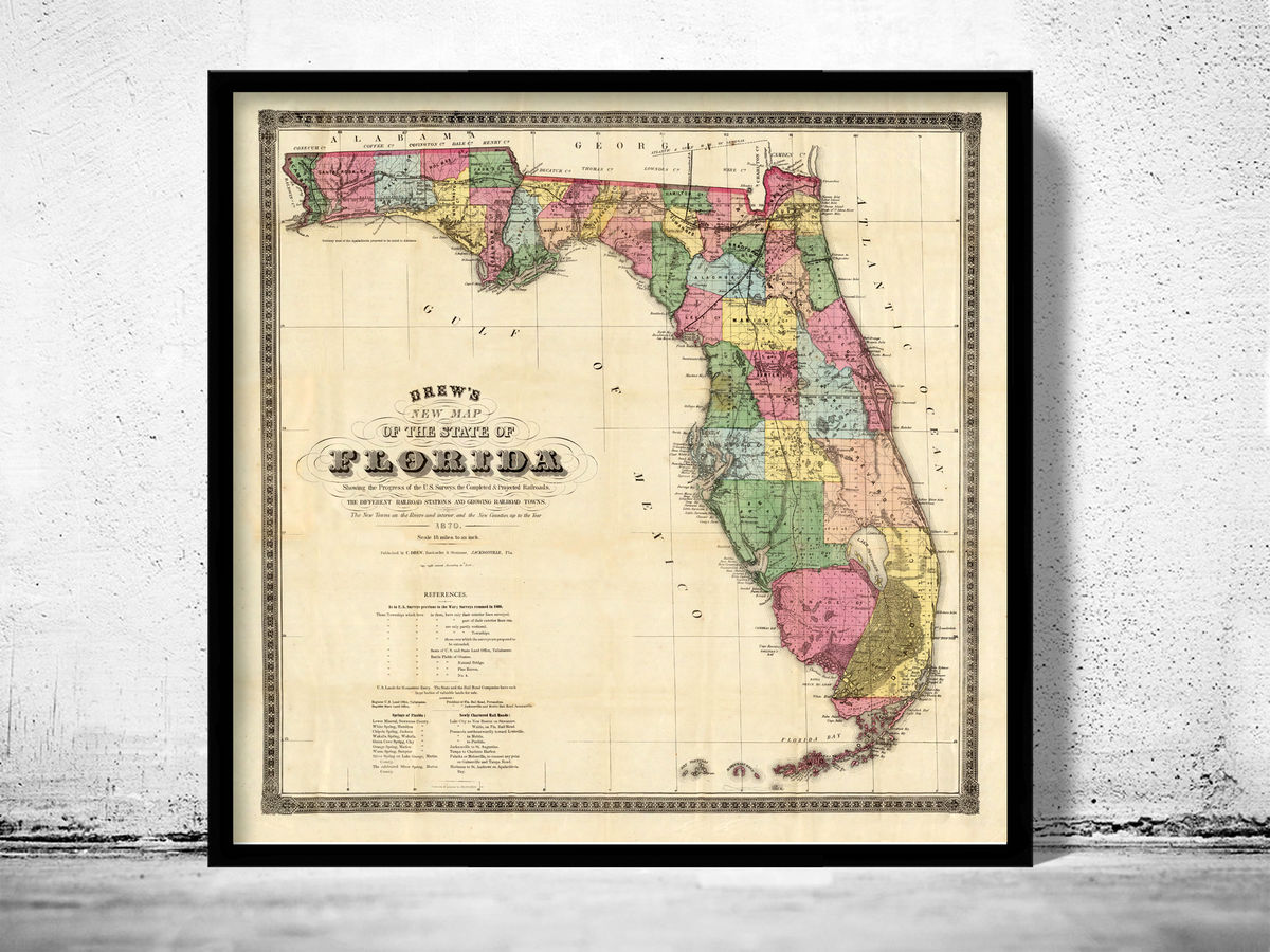 Old Map of Florida 1870 - product images  of