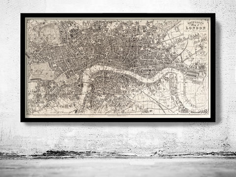 Old,Map,of,London,England,1851,Vintage,Art,Reproduction,Open_Edition,illustration,gravure,vintage_map,city_plan,england,united_kingdom,london,old_map,engraving,london_map,old_map_of_london,vintage_map_london,london_poster